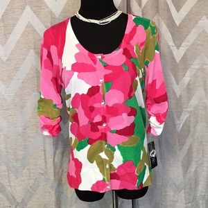 NWT INC Concepts Floral Cardigan Ruched Sleeve